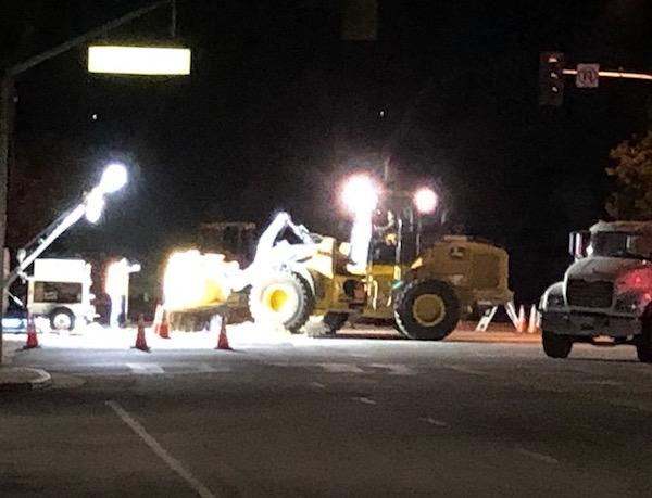 Overnight road work on Spring Street progresses