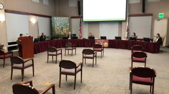 Paso Robles City Council meeting practicing social distancing under fears of COVID-19