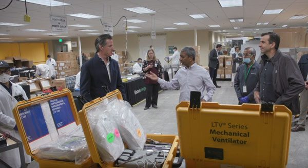 In Sunnyvale, Governor Newsom and Mayor Liccardo Tour Bloom Energy, Which is Refurbishing Ventilators for Use in California Hospitals During COVID-19 Outbreak