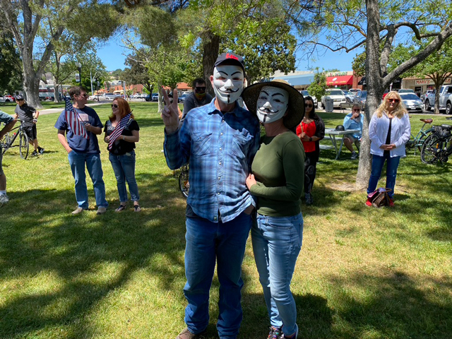 Locals-wear-guy-faulks-masks-at-Paso-Robles-Covid-19-rally