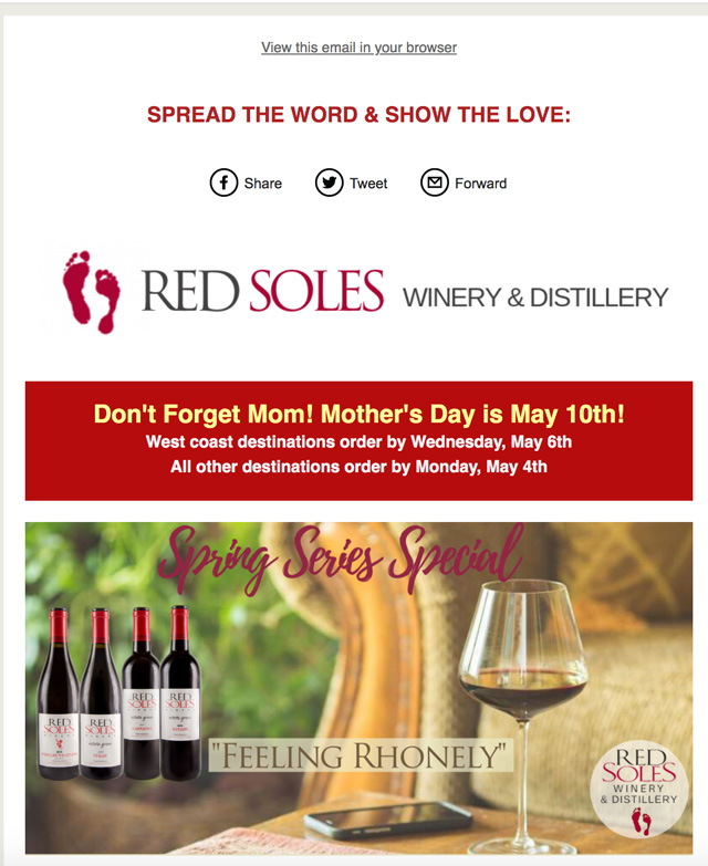 PRDN E-Flyer Red Soles Winery Mother's Day special