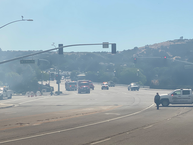 The intersection of Creston and River roads in Paso Robles is closed