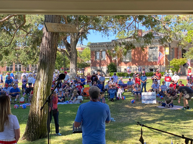Freedom Rally in Downtown City Park draws about 400