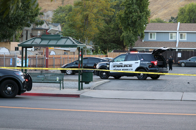 Paso Robles Police officers at the scene of a shooting