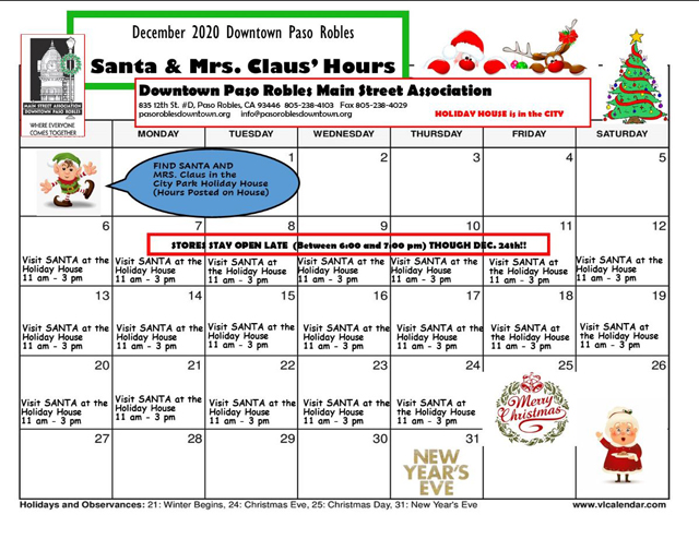 Holiday House open hours with Santa 2020