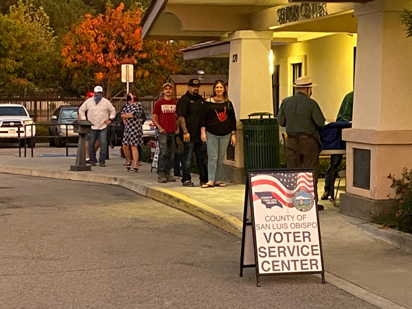 Voters line up to vote on Election Day at the Paso Robles Senior Center.