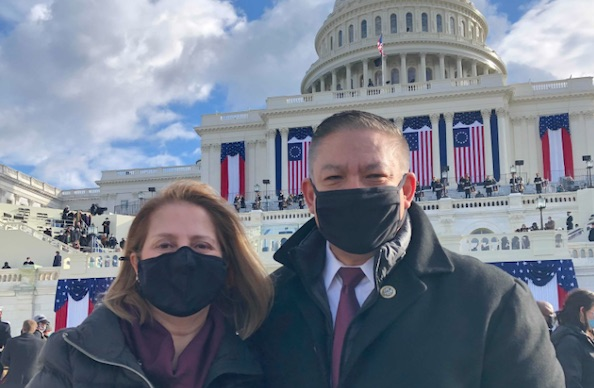 Carbajal and his wife, Gina Carbajal, at the inauguration.