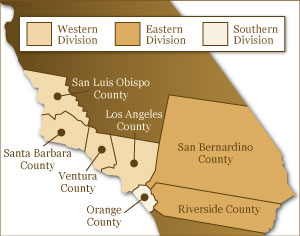 Map of US District Court Central District serving Paso Robles