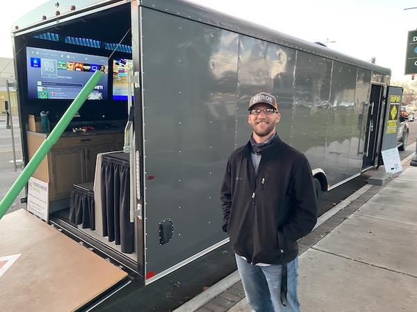 Doug Neville of Atascadero built the mobile gaming trailer.