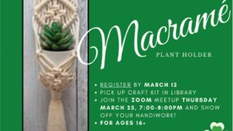 Library offering macramé plant holder craft class in March