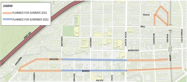 San Luis Obispo streets to be resealed, safety enhancements added