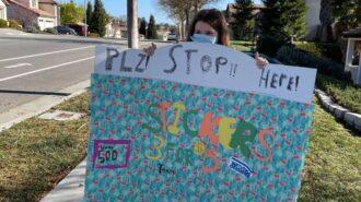 girl raising money for woods humane society