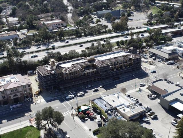 Aerial view of La Plaza under construction on El Camino Real in Atascadero