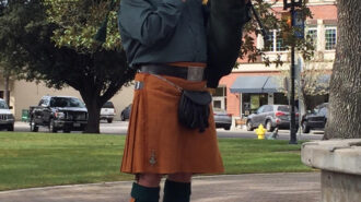 Ed Gallagher of Paso Robles on the bagpipes