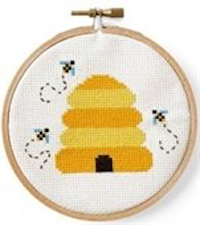 Make a beehive cross stitch with the Paso Robles Library