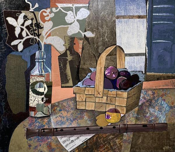 Salon Exhibit Nico Vandenheuvel Still life with flute. collage