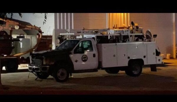 utility truck catches fire